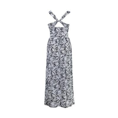 leaf pattern shirring long dress
